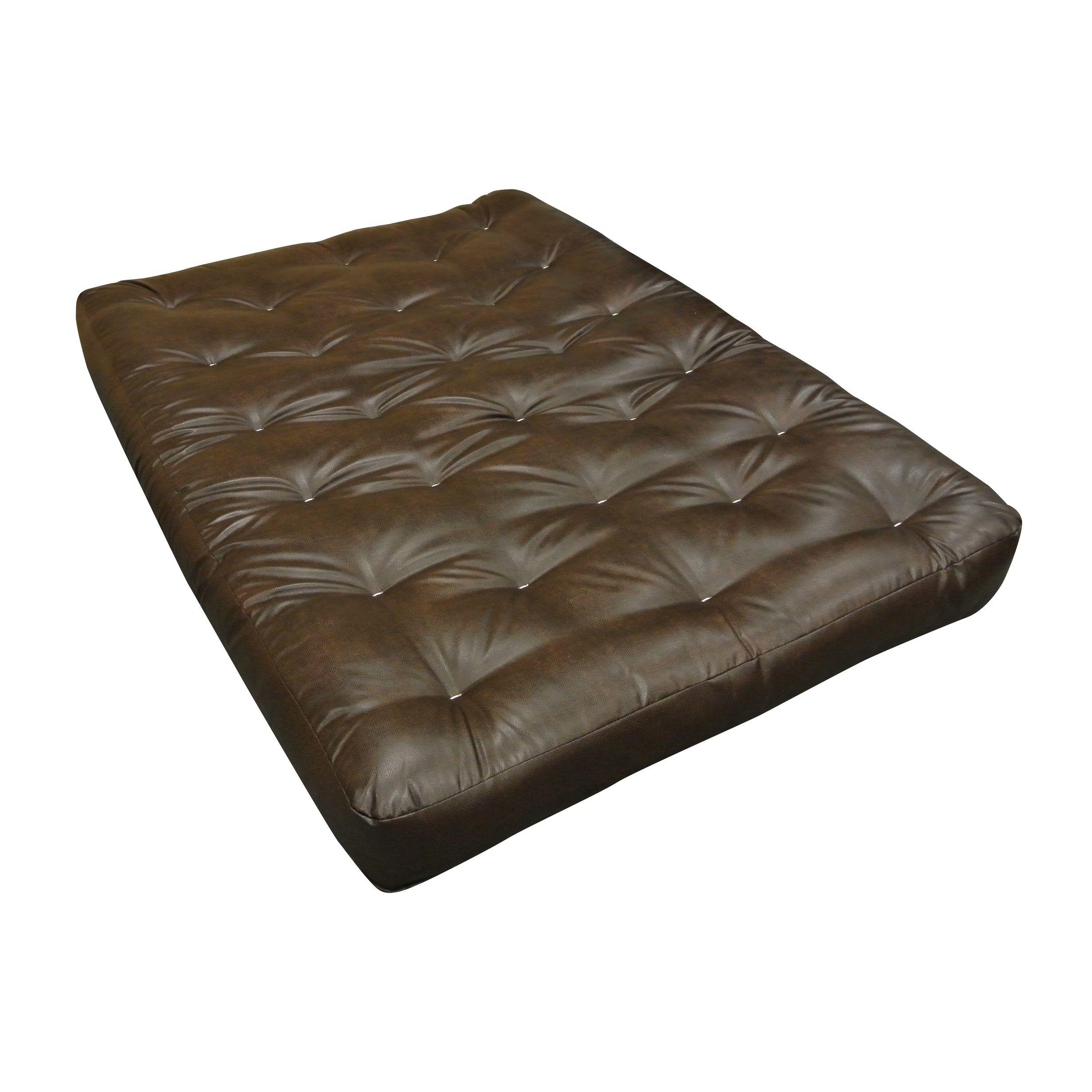 Brown Leather Single Foam Cotton 6 Inch Twin Futon Mattress