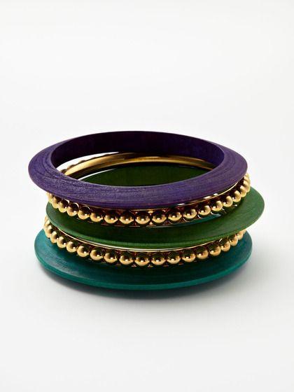 Set Of 5 Brass & Multicolor Wood Bangles