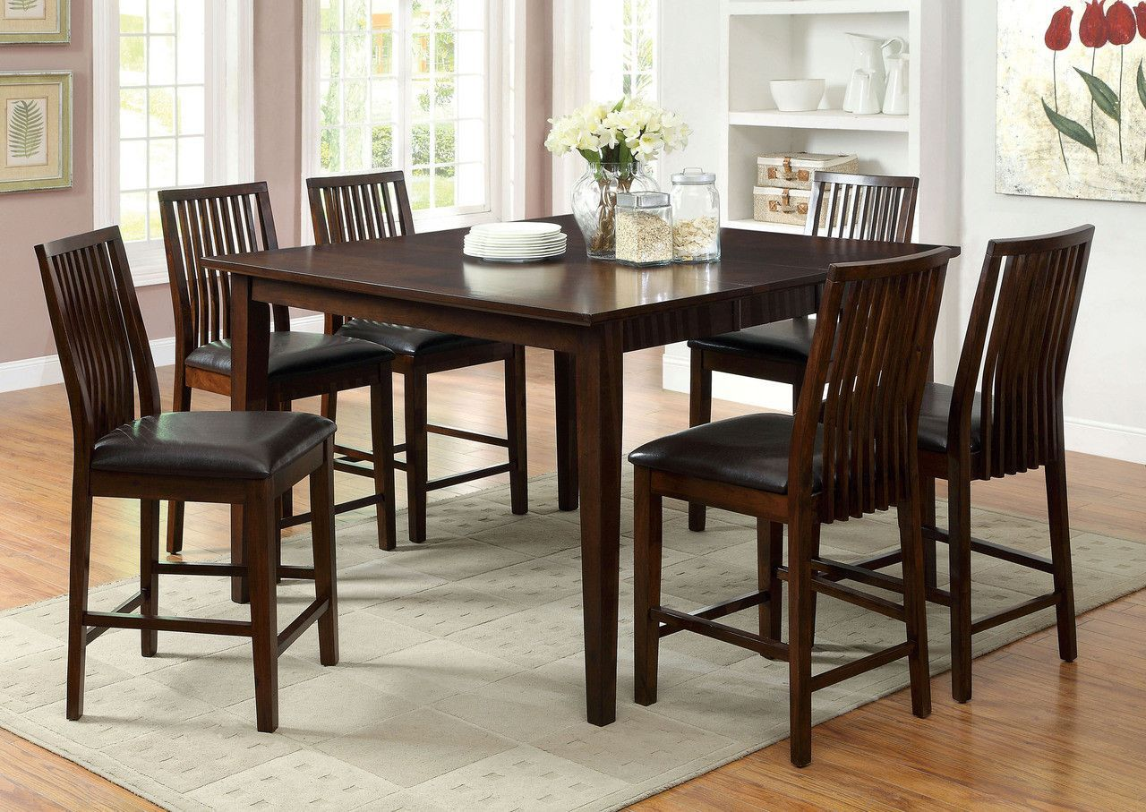 Counter Ht Table With 6 Chairs 7 Pc Reyes Ii Collection Cm3318pt