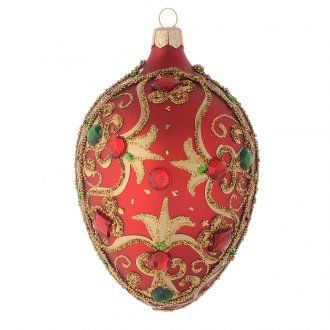 7759722571b Bola de Navidad oval de vidrio rojo y oro 130 mm