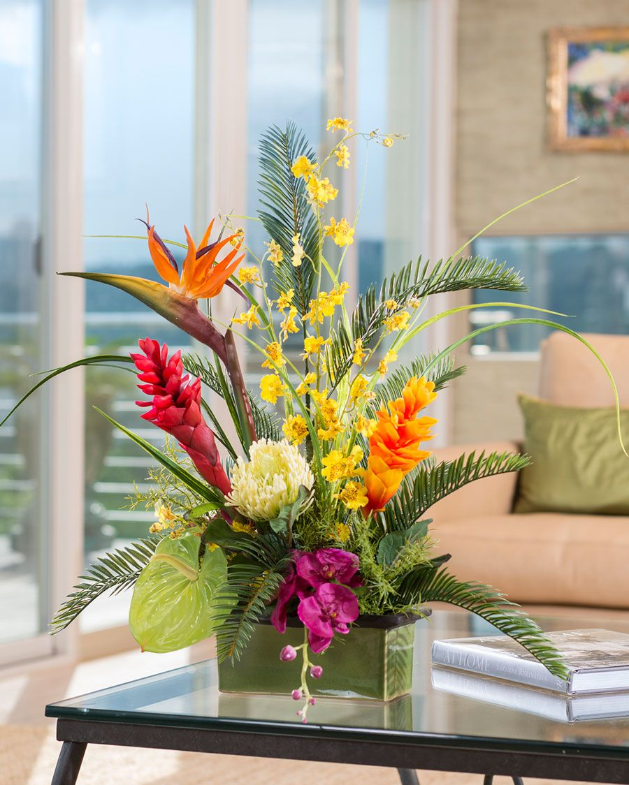 tropical orchids ginger silk flower arrangement. Black Bedroom Furniture Sets. Home Design Ideas