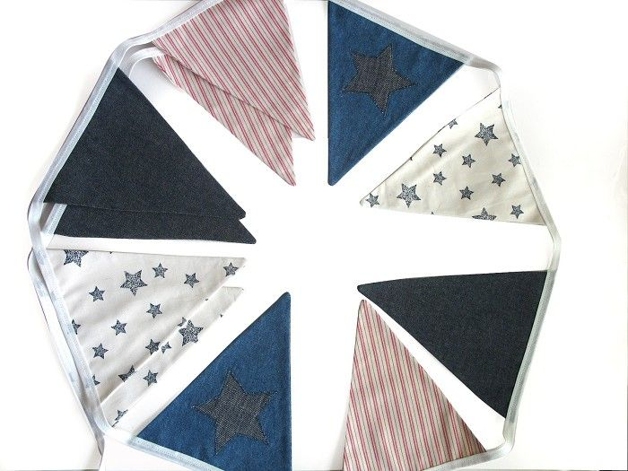 BOYS Denim Navy Blue, STARS & Stripes Flag Bunting. Party, Banner Decoration - by merry-go-round on madeit