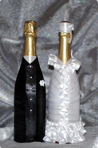 Сделать своими руками жениха и невесту из бутылки