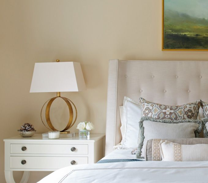 Dalia Canora Design + Jane Beiles Photography - neutral bedroom with gold geometric lamp