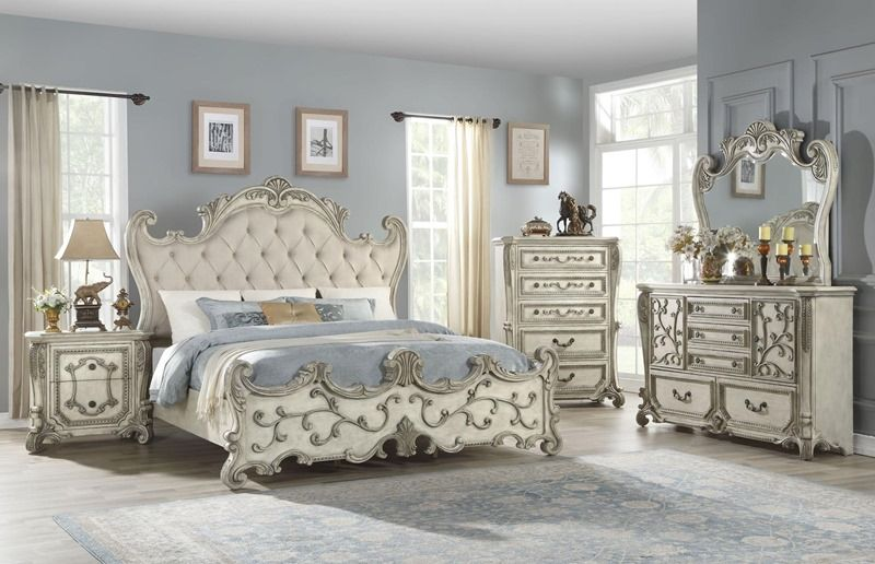 Best Braylee Antique White French Provincial Bedroom Set Regal 400 x 300