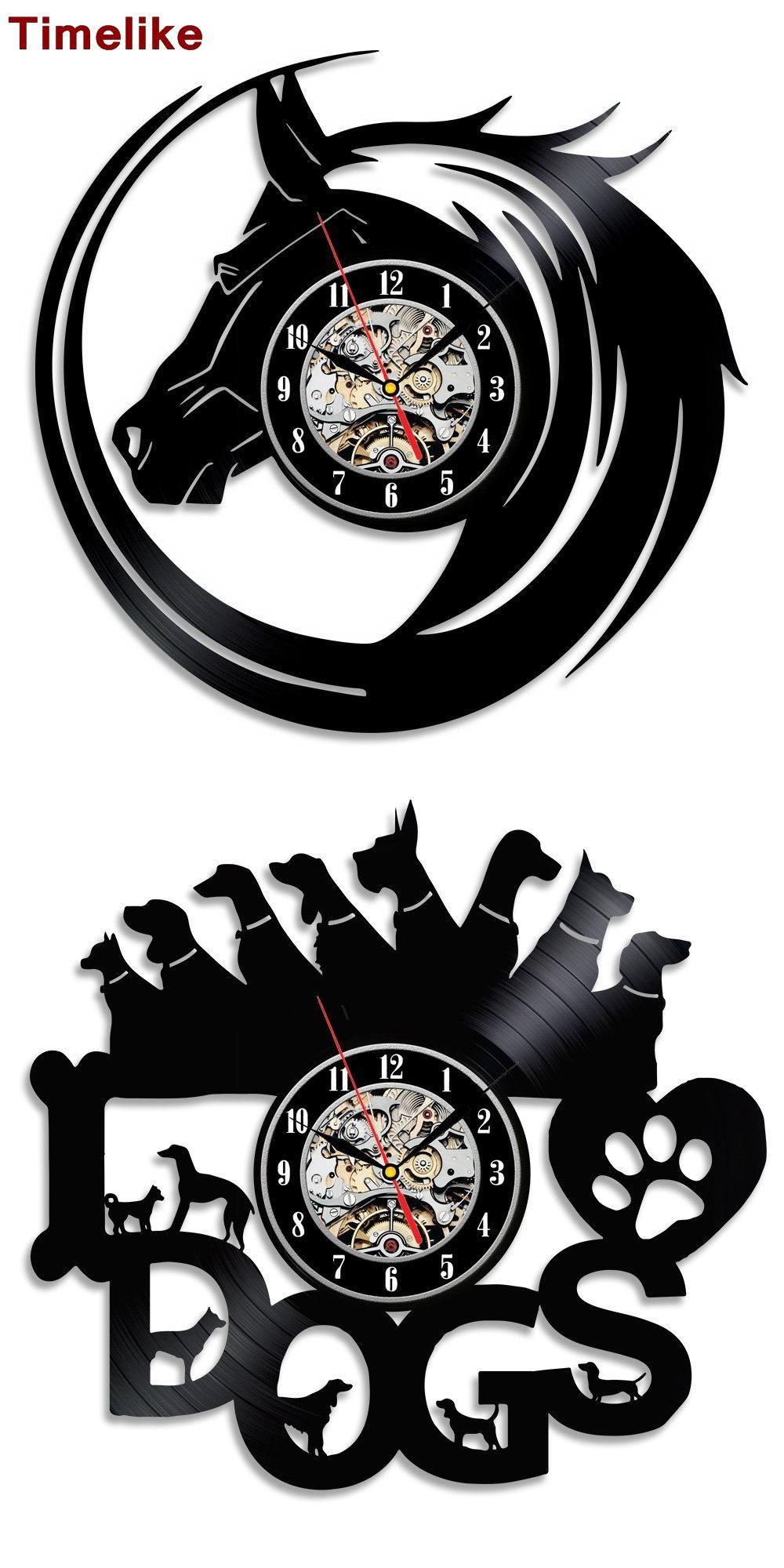 36a708f1903  Visit to Buy  Hot CD Vinyl Record Wall Clock Modern Design Animal Dog Cat