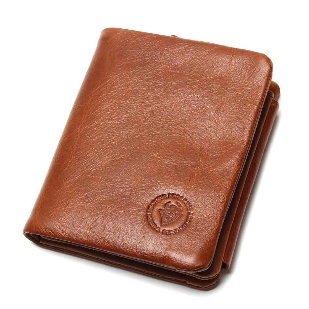 Men/'s Genuine Leather Wallet Trifold 9 Credit Card Holders Coin Pocket Purse