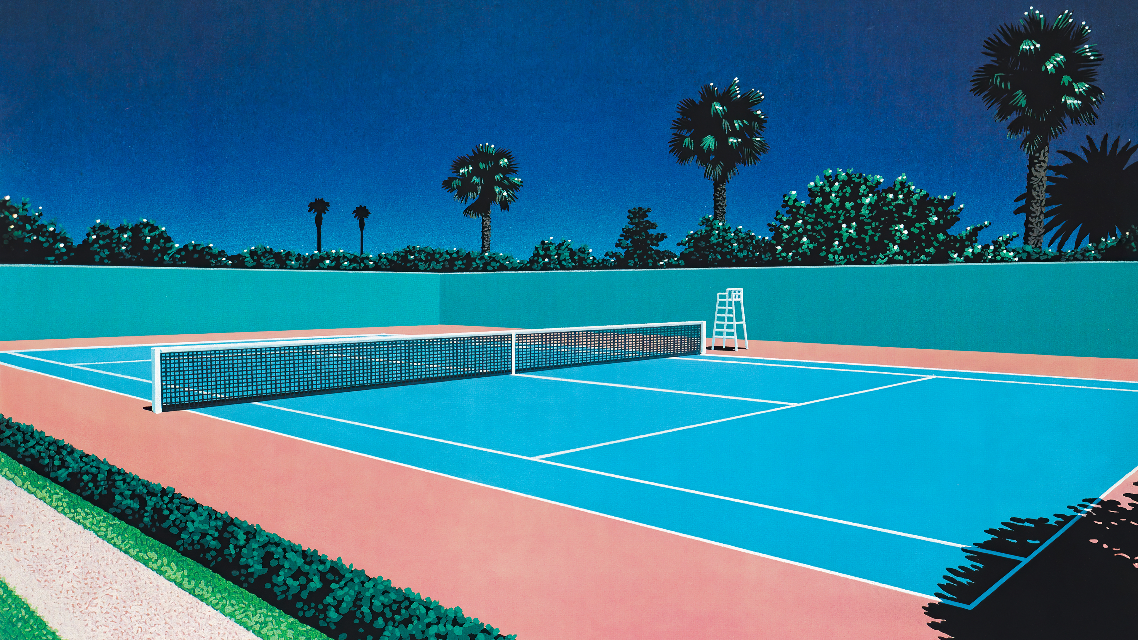 Tennis Court By Hiroshi Nagai 3840x2160 Tennis Court Desktop Background Images Background Images