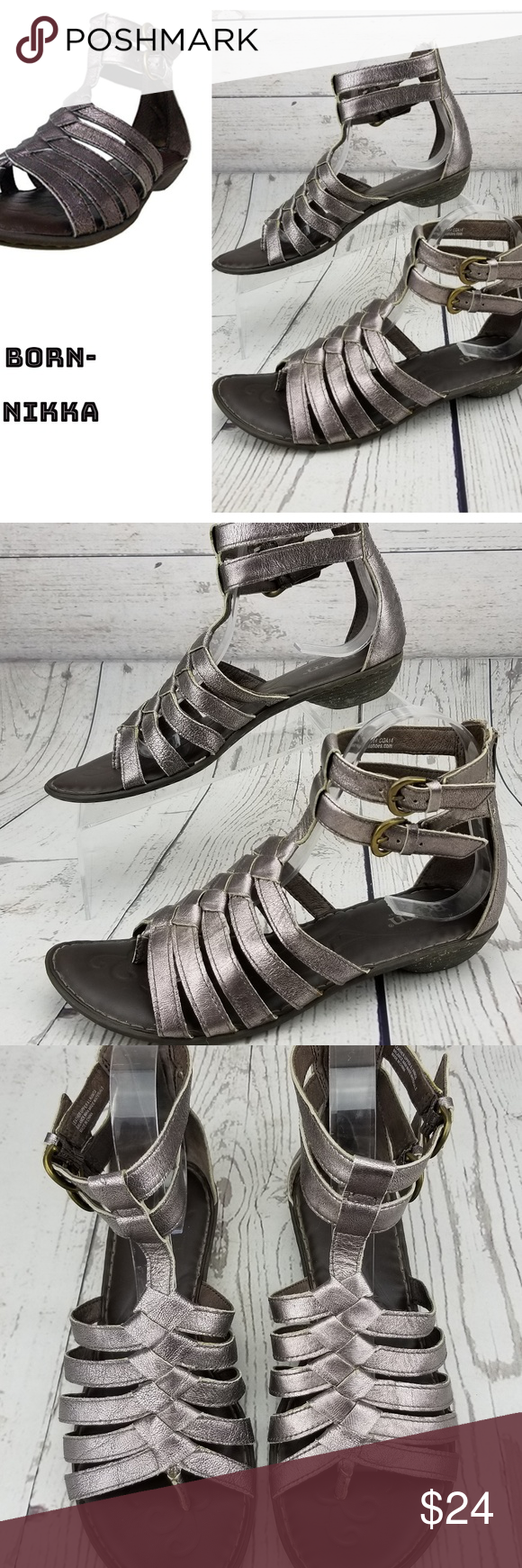 b73a9b86b269 Born Nikka Pewter Gladiator Sandals Leather 8 Born Sandals  Style  Nikka  Women s Size 8