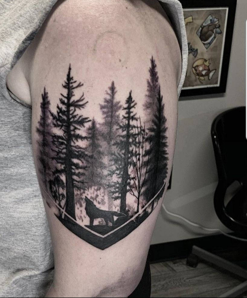 Forest Tattoo With Wolf Forest Tattoos Tattoos Wolf Tattoos For Women