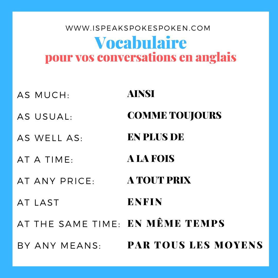 Vocabulaire Anglais De Conversation Vocabulaire Comment Apprendre L Anglais Apprendre L Anglais