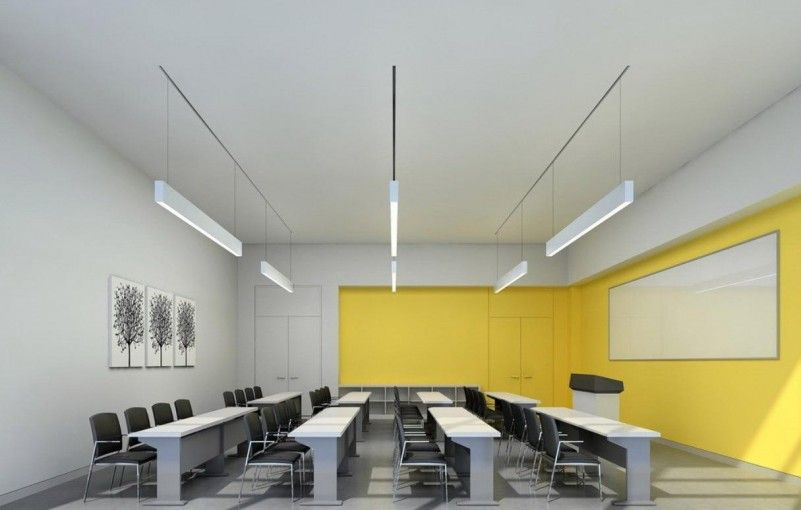 Sophisticated Modern Classroom Interior Design With Yellow ...