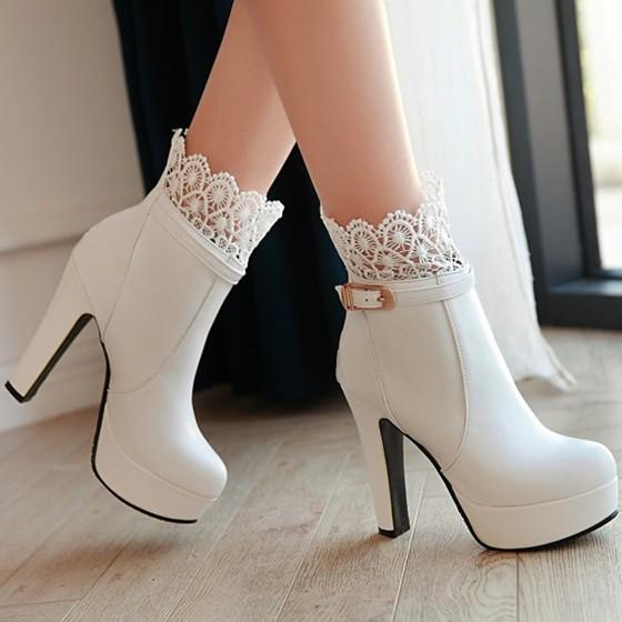New Women White Round Toe Chunky Lace Stitching Fashion Ankle Boots
