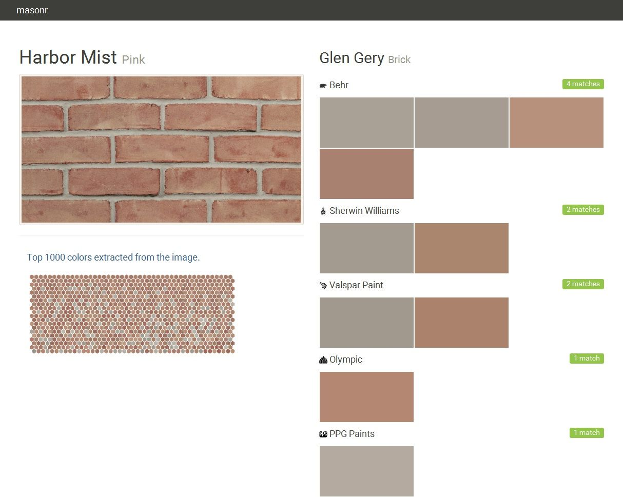 Harbor Mist Pink Brick Glen Gery Behr Sherwin Williams Valspar Paint Olympic Exterior