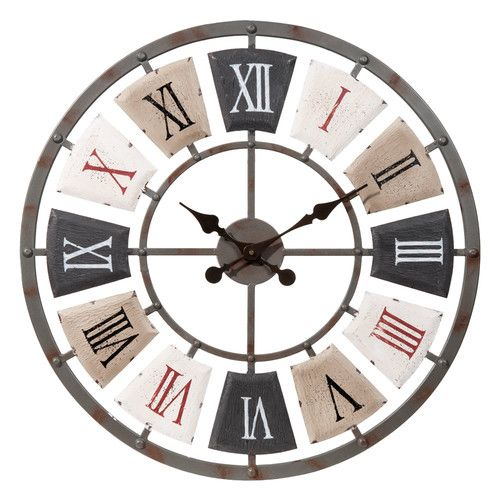 horloge en m tal d 62 cm reloj reloj pared y herrer a. Black Bedroom Furniture Sets. Home Design Ideas