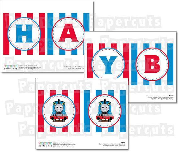 Printable DIY Thomas the Train Theme Happy by PapercutsPartyShop