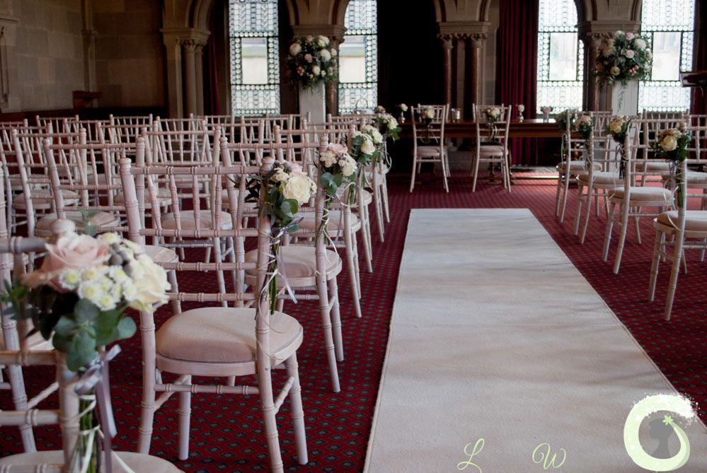 Wedding Ceremony Decorations At Manchester Town Hall Aisle Flowers