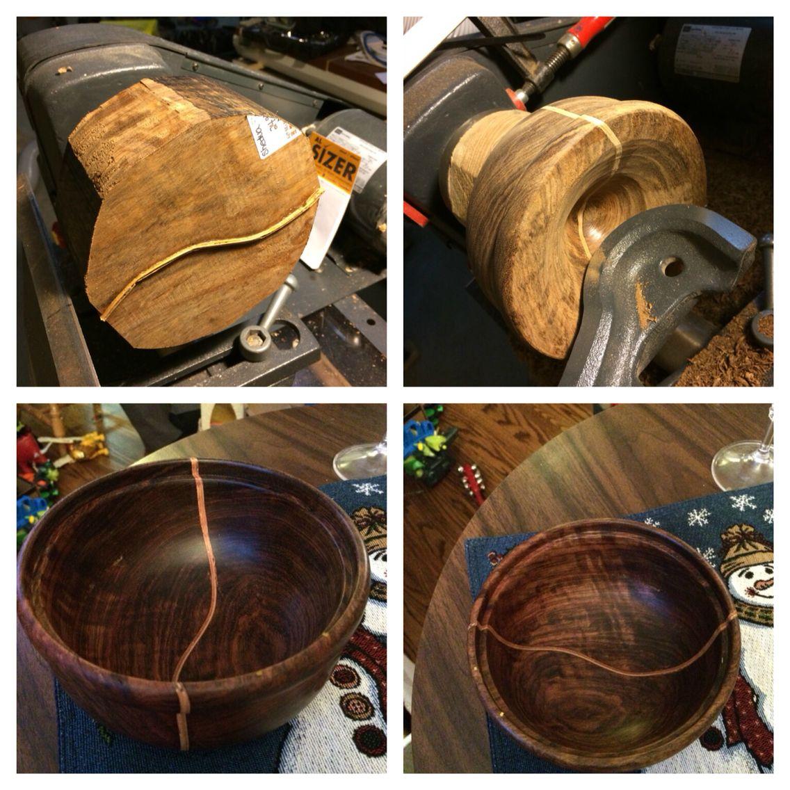 Wood turned bowl Shedua Wood with Birdseye maple