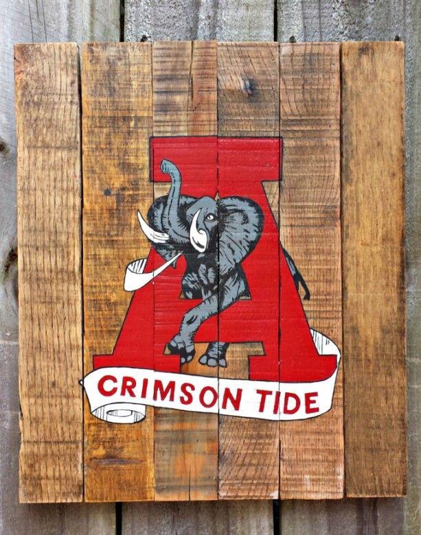 Rustic Handmade Hand Painted Art Unversity of Alabama ...