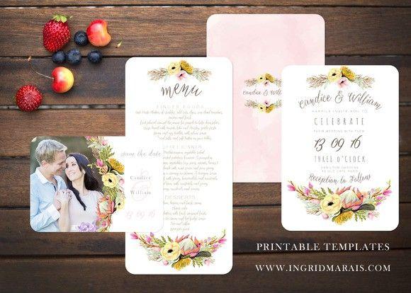 Bohemian Protea floral Invitation. Printables. $29.00