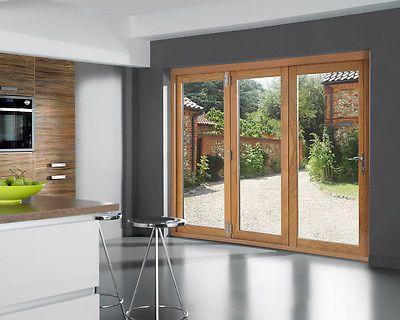 Details About Openvu Classic Oak Folding Sliding Patio Door Set 7ft