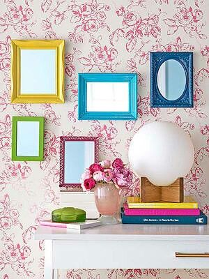 Bright Reflection Modernize ornate frames with fun colors. Vary frame silhouettes and paint finishes (mix glossy and matte). Have your hardware store custom-cut mirrors to fit inside the frames. Hang the frames together for impact.