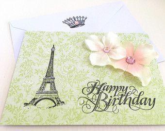Eiffel Tower Birthday Card Paris Birthday Card Handmade Card Blank Happy Birthday Card Handmade Birthday Card French Sty Cards Handmade Cards Cards Envelopes
