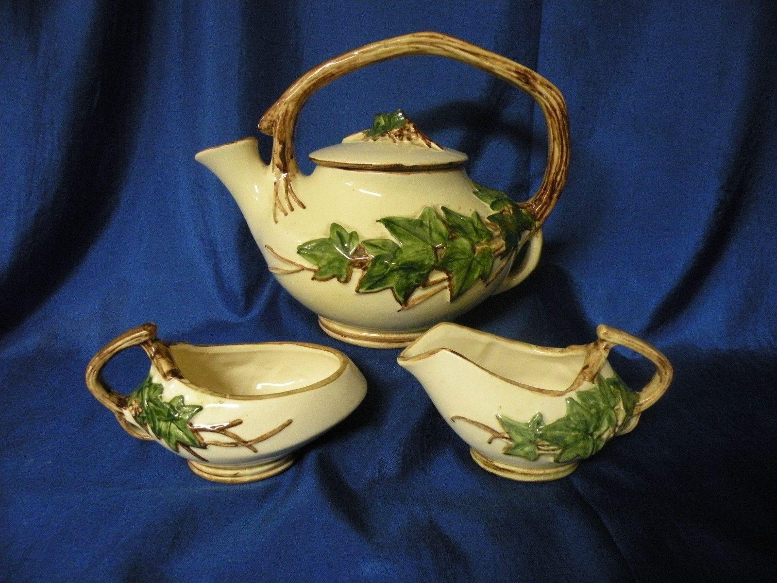 vintage McCoy ivy teapot, cream & sugar (With images
