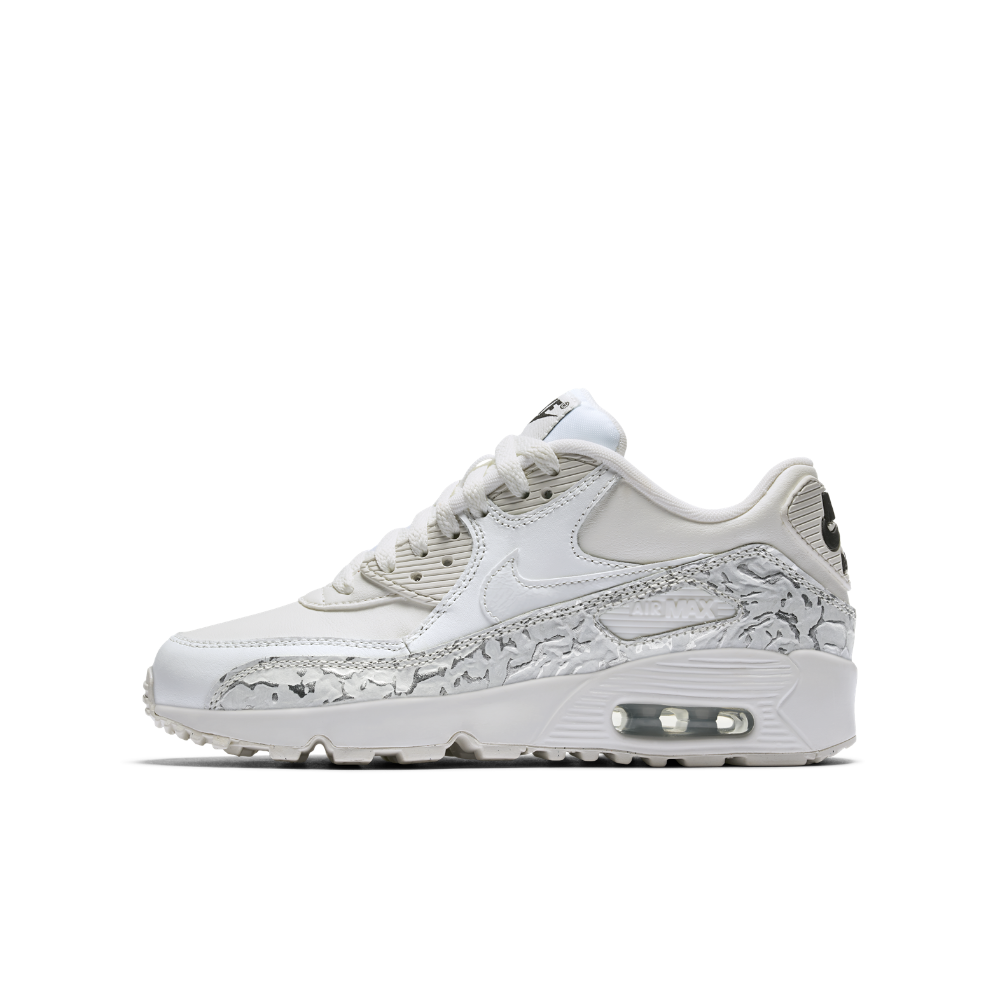 Nike Air Max 90 SE Leather Big Kids' Shoe Size 3.5Y (White