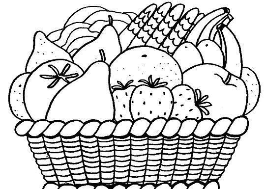 Dibujo De Frutas Para Colorear Cesta De Frutas Para Ninos