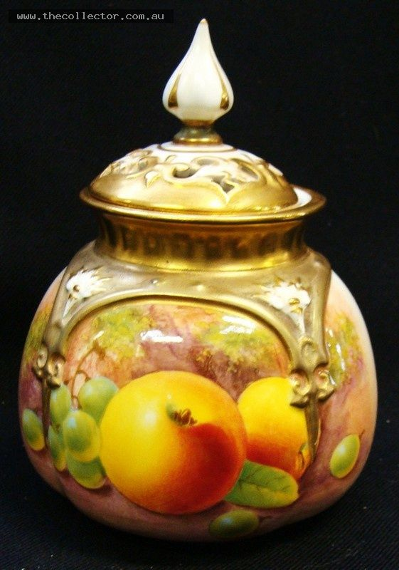 Lot 377 - Handpainted Royal Worcester potpourri jar with handpainted fruits by Leighton Maybury lid  AF Dated 1952 - approx 12cms H