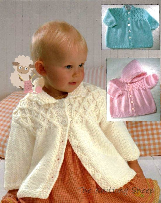 3050e3e3feea PDF Knitting Pattern for a Baby Girls Aran Smocked Jacket -Instant ...