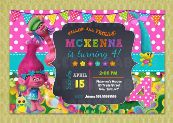 NEW Pack of 10 Trolls Themed Birthday Card Party Invitations