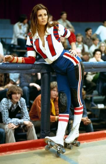 make like raquel welch in 1972s the kansas city bomber by wearing a roller derby uniform and white lace up skates