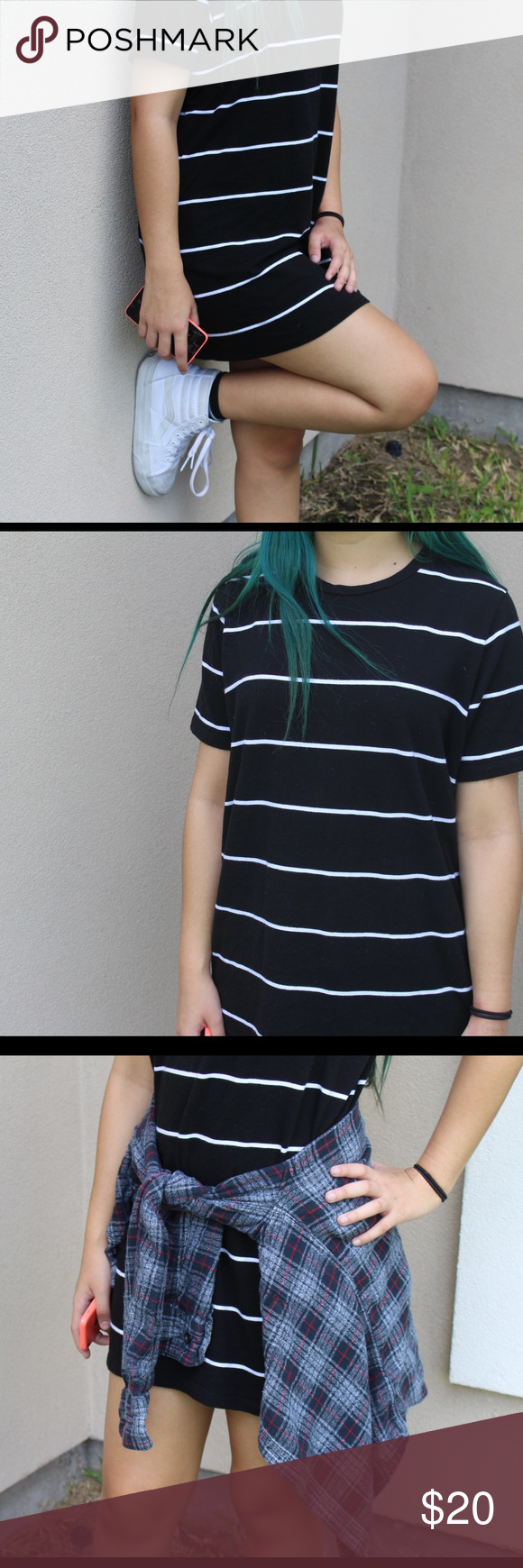 T shirt dress Black and white stripes t shirt dress from pacsun! Brand new hardly worn! And super cute// size is ONE FITS ALL PacSun Dresses Mini