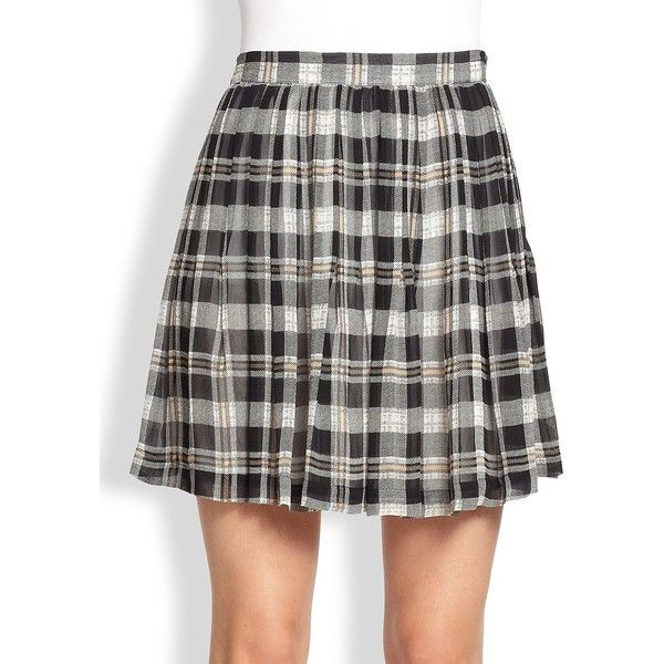 Joie Deron Plaid Silk Pleated Skirt ($90) ❤ liked on Polyvore featuring skirts, apparel & accessories, plaid skirt, tartan plaid pleated skirt, silk skirt, preppy plaid skirt and preppy skirts
