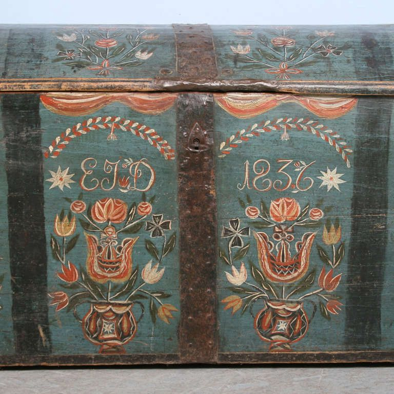 Antique Original Painted Swedish Trunk Dated 1836 Painted Trunk Antiques Scandinavian Folk Art