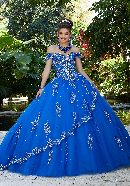 Rhinestone Beaded Quinceanera Dress By Morilee Morilee Style 89254 Turquoise Quinceanera Dresses Quinceanera Dresses Blue Sweet 15 Dresses [ 2630 x 1834 Pixel ]