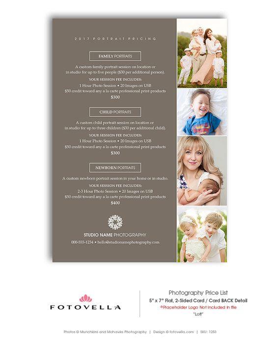 Modern Photography Price List Template 5x7 Flat Card Loft Etsy Photography Price List Photography Price List Template Price List Template