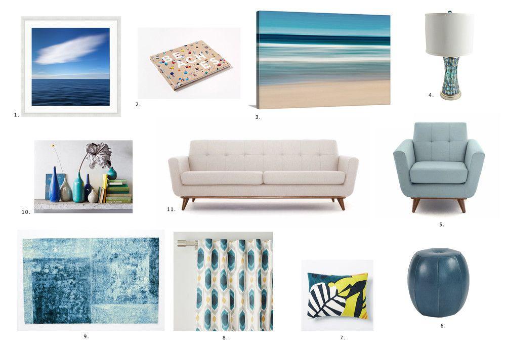 Midcentury Modern Beach Living Room Interior Design Inspiration Beach Living Room Beach Wall Decor Interior Design Inspiration #teal #and #navy #blue #living #room
