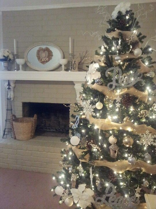 Burlap white silver Christmas tree   Christmas trees   Pinterest ...