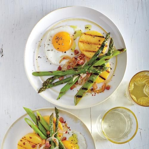 Cooking Light   Grilled Asparagus with Fried Eggs and Pancetta