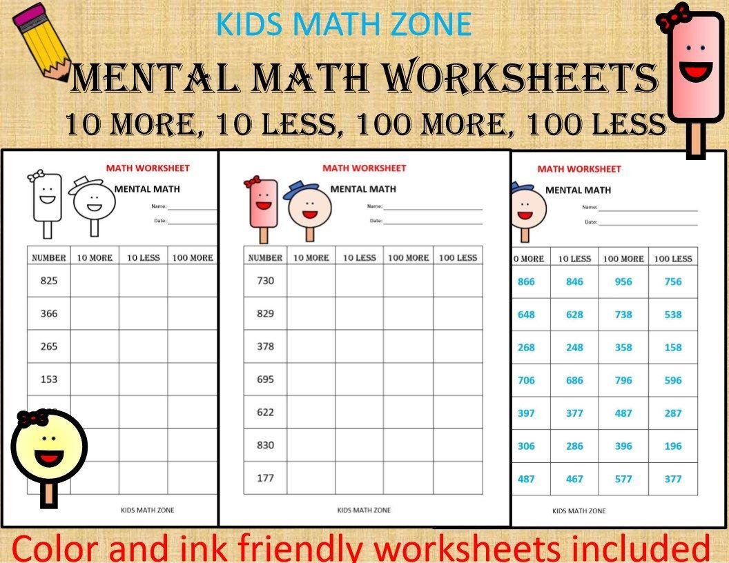 Mental Math (10 Math Worksheets) pdf/ Kindergarten Year 1