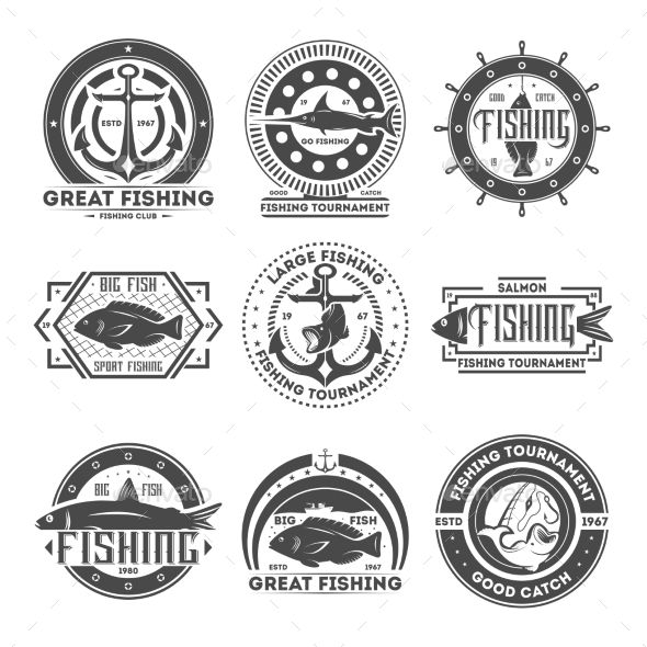 Fishing Tournament Vintage Isolated Label Set Sport Fishing Icons