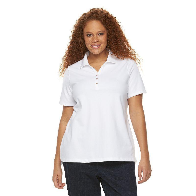 Plus Size Croft & Barrow® Johnny Collar Polo, White
