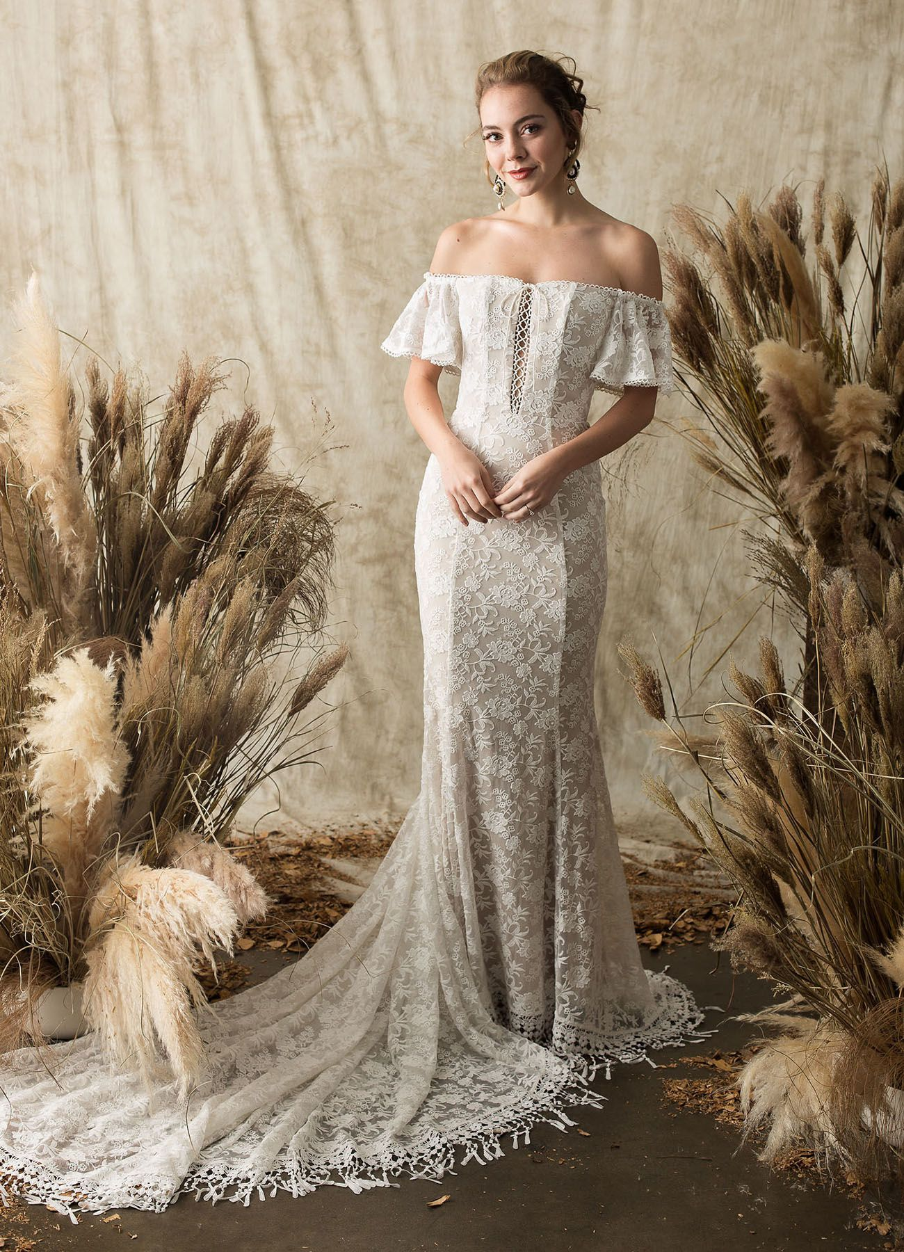 55cca15c458 Dreamers and Lovers boho lace wedding dress off the shoulder   laceweddingdress  bohoweddingdress