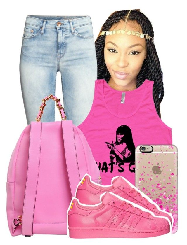 """""""Untitled #366"""" by tanaisha ❤ liked on Polyvore featuring H&M, Moschino, Casetify and adidas"""
