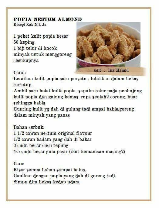 Popia Nestum Almond Dog Food Recipes Food Snacks
