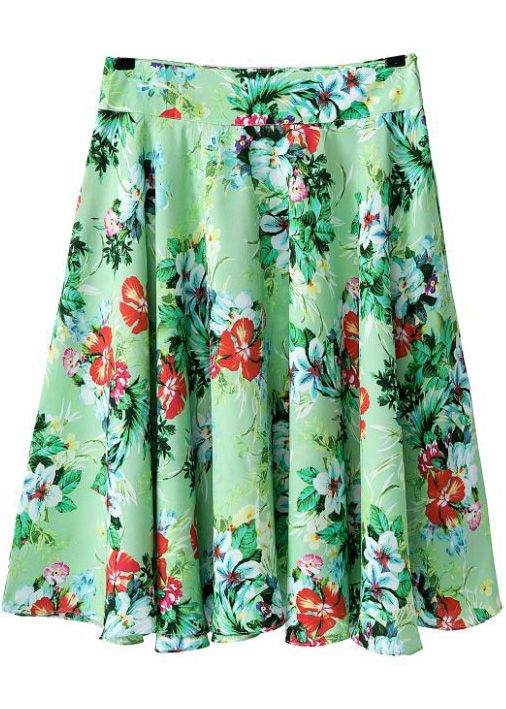 b015ec1966 Green Floral Pleated Skirt US$17.71 | Amber. | Floral pleated skirt ...