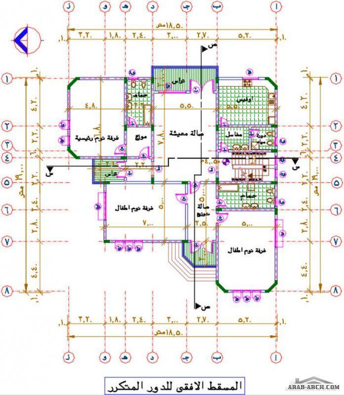 مشروع فيلا سكنية دورين كاملة الرسومات Victorian House Plans Square House Plans Family House Plans